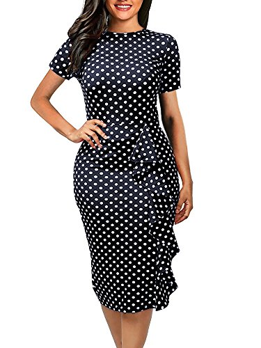 oxiuly Women's Casual Polka Dot Short Sleeve Round Neck Work Business Pencil Dress OX055 (M, Navy -