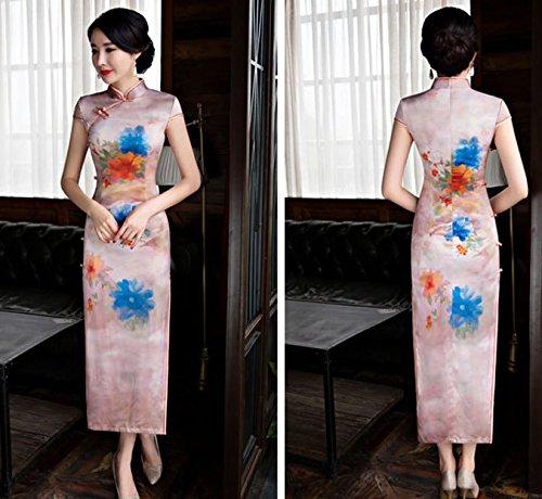 Lang Damen Frauen Cheongsam Bankettkleid 1 Abendkleid Qipao Party für Retro Stil ACVIP Blumenmuster p1Tgxg6
