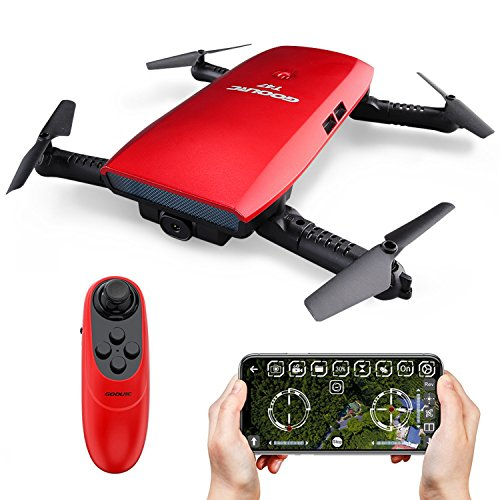 GoolRC T47 FPV Drone Foldable with Wifi Camera Live Video 2.4G 4 Channel 6 Axis Gravity Sensor Mode Altitude Hold RC Foldable Selfie Pocket Drone APP Control RTF