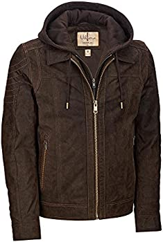 Wilsons Leather Vintage Hooded Mens Leather Jacket (Brown)