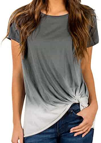 4f17ee6f7f7d1d ILUCI Women's Tops Gradient Color Knotted T-Shirts Short Sleeve Tee Casual  Blouse Tunic Clearance