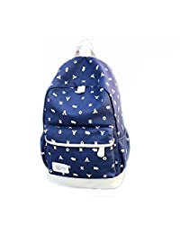 Artone Daypack Animals Canvas School Backpack With Laptop Compartment Deep Blue