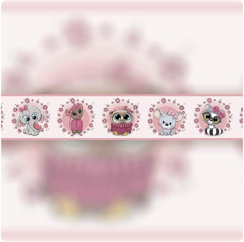 setecientosgramos Cenefa Auto-Adhesiva Decoraci/ón de Pared Infantil 5 m x 15 cm Animals Pink