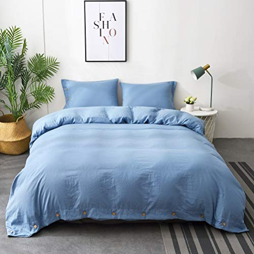(M&Meagle Duvet Cover Sky Blue,Solid Color Button Design,100% Microfiber Treated by Washed Cotton Process,Feels Like a Very Soft Cotton-Queen Size(3Pcs,1 Duvet Cover 2 Pillowcases))