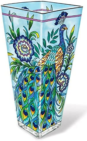 Amia 42017 Hand Painted Glass Vase, 10-Inch, Peacock Design