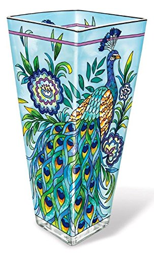 Glass Vase Painted (Amia 42017 Hand Painted Glass Vase, 10-Inch, Peacock Design)