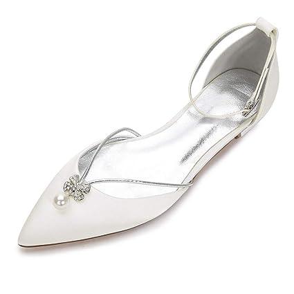 3f32df267 Zxstz Women's Shoes Lace Comfort Ballerina Wedding Shoes Flat Heel Round Toe  Rhinestone Satin Flower Sparkling