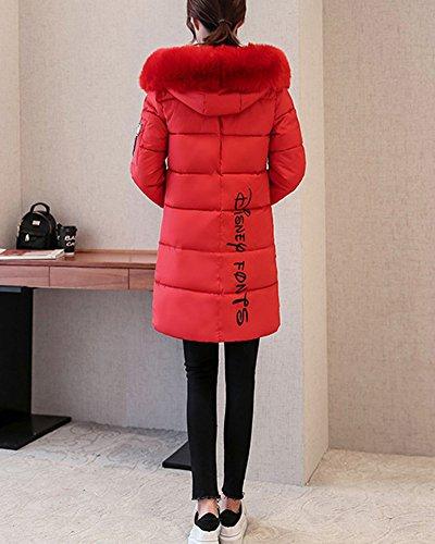 En Slim Coton Femme Manteau Section Élève Veste Gros Longue Duvet Col Rouge YYRCq8