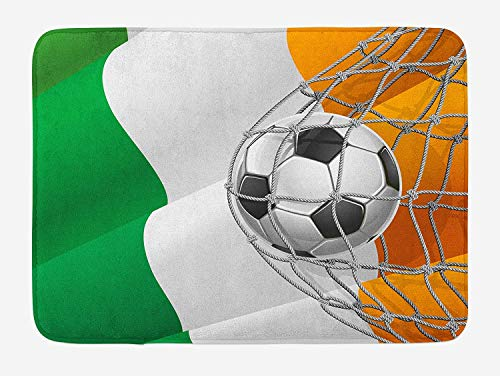 Weeosazg Irish Bath Mat, Sports Theme Soccer Ball in a Net Game Goal with Ireland National Flag Victory Win, Plush Bathroom Decor Mat with Non Slip Backing, 23.6 W X 15.7 W Inches, Multicolor]()