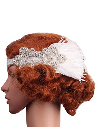 [Flapper Girl Vintage White Feather Silver 20s Headpiece 1920s Flapper Headband (White)] (1920s Flapper Hairstyles)