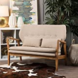 Teague Wheat Fabric Mid Century Modern Loveseat