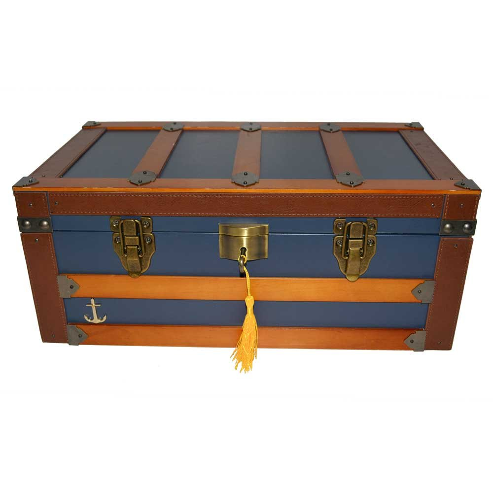 Humidor Supreme 'Admiral' 120 Cigar Blue Trunk Style Humidor, Leather, Solid wood Exterior 16'x9'x6'