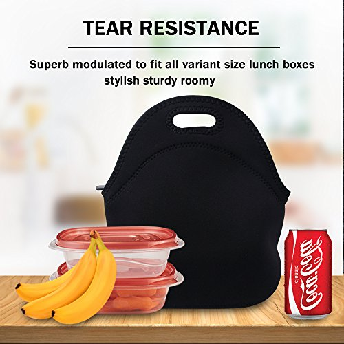 Lunch Tote, OFEILY Lunch boxes Lunch bags with Fine Neoprene Material Waterproof Picnic Lunch Bag Mom Bag (Black) by Ofeily (Image #6)