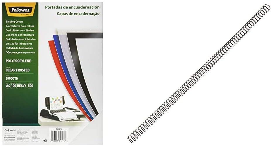 Fellowes 54770 - Portadas para encuadernar de polipropileno, A4, translúcido + 5110301 - Pack de 100 espirales metálicas 10 mm, negras