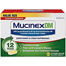 Mucinex DM 12 Hour Maximum Strength Expectorant & Cough Suppressant Tablets, 42ct, 1200mg Guaifenesin, 60mg Dextromethorphan with Extended Relief