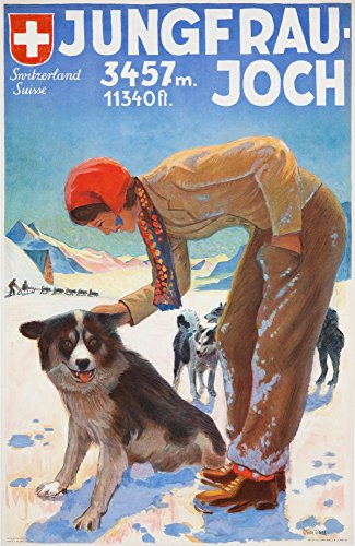 (Jungfraujoch Vintage Poster (artist: Weiss) Switzerland (16x24 SIGNED Print Master Giclee Print w/Certificate of Authenticity - Wall Decor Travel Poster))