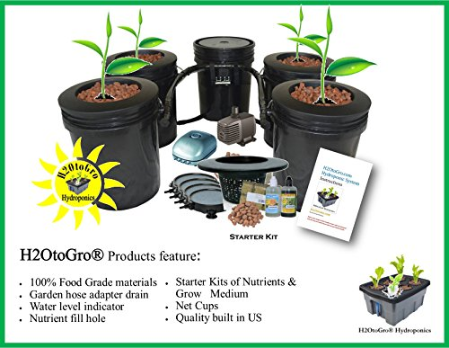Hydroponic Recirculating Deep Water Culture System with Root Spa. (4) 5 Gallon Buckets + 1 Control (Air Round Medium Stone)