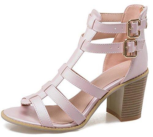 Odema mujeres Chunky tacon tobillo correa Gladiator Sandal pummp Pink