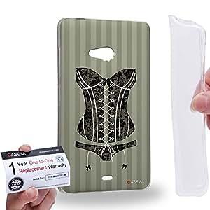 Case88 [Microsoft Lumia 540] Gel TPU Carcasa/Funda & Tarjeta de garantía - Art Fashion Black And White Lace Corset Art2067
