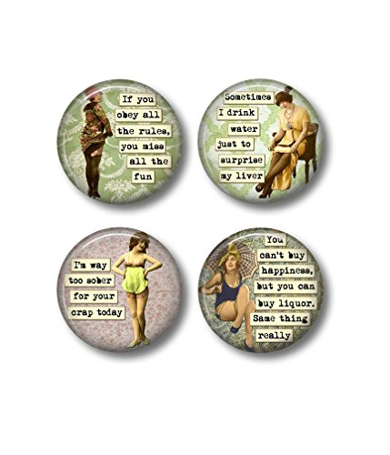 Sarcastic Drinking Quotes - Fridge Magnet - Sarcasm Humor - 1.5 Inch Magnet - Kitchen Magnet - Funny Women - Retro Kitchen - Gift for Friend - Drinking Buddies - Wine Humor