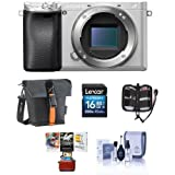 Sony Alpha a6300 Mirrorless Digital Camera Body, Silver - Bundle 16GB Class 10 SDHC Card, Holster Case, Cleaning Kit, Memory Wallet, Mac Software Package