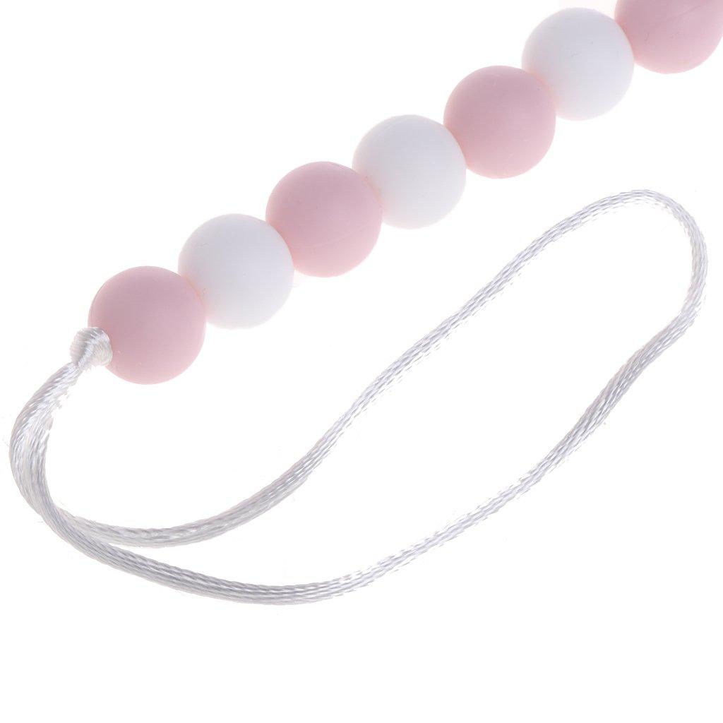 blanco) MIsha Cadena chupete de silicona color Juguete mordedor bebe Perlas de silicona de grado alimenticio(Amarillo