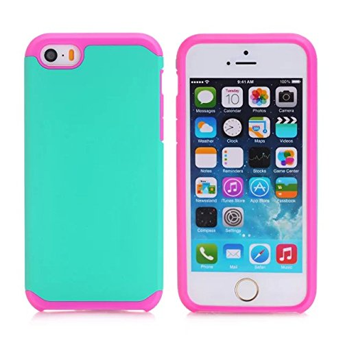 iPhone 5S Case,iPhone 5 Case,Lantier Cool Series [Slim Thin Armor] Dual Layer Protective Hybrid Shockproof Case for Apple iPhone 5/5S Hot Pink-Mint Green