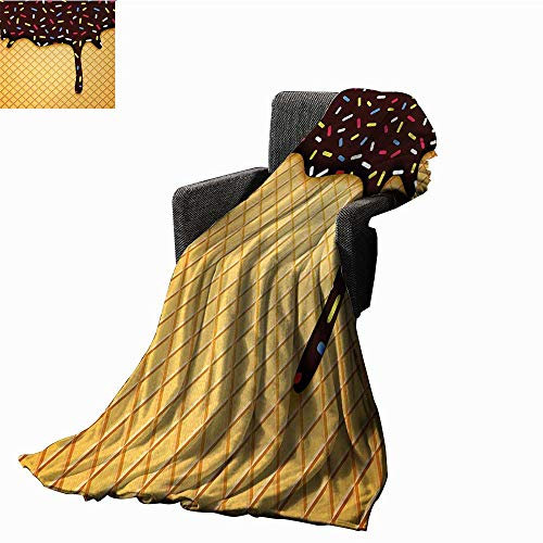Tapesly Ice Cream Throw Blanket Waffle Chocolate Flavor Dessert Delicious Yummy Backdrop Stylish Graphic,Super Soft and Comfortable,Suitable for - Waffle Pique Robe