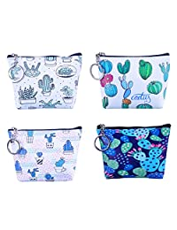 Oyachic 4 Pack Zipper Coin Purse PU Change Pouch Cactus Pattern Mini Wallet with Key Ring Women Girls Party Giveaway(Magical cactus)