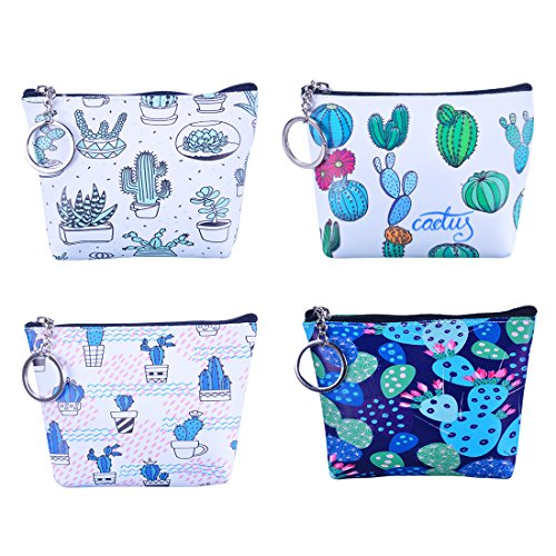 Oyachic 4 Pack Zipper Coin Purse PU Change Pouch Cactus Pattern Mini Wallet with Key Ring for Women Girls Party Giveaway(Magical cactus)