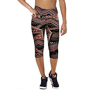 Ancia Womens Exercise Workout Capri Leggings Yoga Zumba Tights Pants(-44,XL)