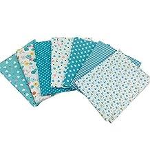 Misscrafts 7pcs Quilting Fabric 50 x 50cm Cotton Blending Textile Craft Fabric Bundle Fat Quarter Patchwork Pre-Cut Quilt Squares for DIY Sewing Scrapbooking