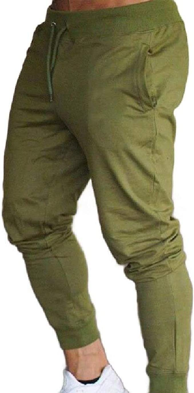Spirio Mens Solid Color Sport Running Elastic Waist Jogging Pants