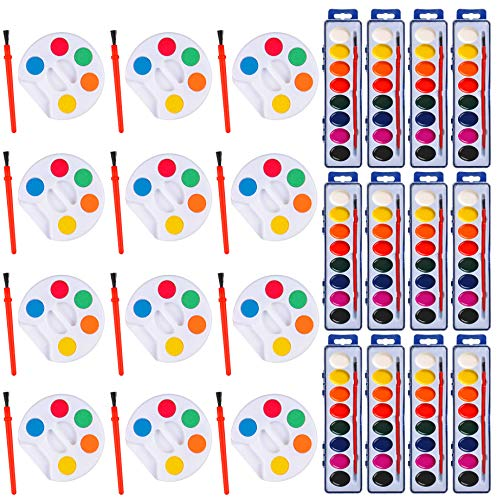 Bulk Washable Watercolor Kids Paint Set of 24, 12 Eight Watercolor Set, and 12 Mini 5 Water Color Set, Palette Tray and Painting Brush, Kids Craft, Individually Wrapped, by 4E's Novelty