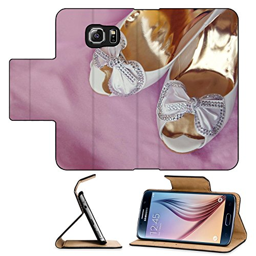 Embroidered Satin Iron (Luxlady Premium Samsung Galaxy S6 Flip Pu Leather Wallet Case bridal shoes on pink satin IMAGE ID)