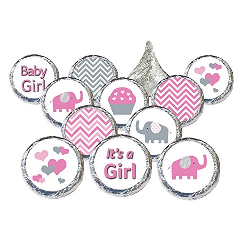 Pink and Gray Elephant Baby Girl Shower Favors Stickers