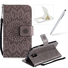 Wallet Case for Samsung Galaxy S5,Strap Flip Case for Samsung Galaxy S5,Herzzer Retro Elegant [Gray Mandala Flower Pattern] Stand Function Magnetic Smart Leather Case with Soft Inner for Samsung Galaxy S5 + 1 x Free White Cellphone Kickstand + 1 x Free Silver Stylus Pen