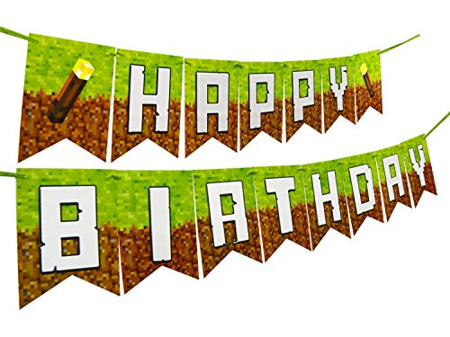 Pixel Party Supplies Decorations Happy Birthday Banner (Party Minecraft)