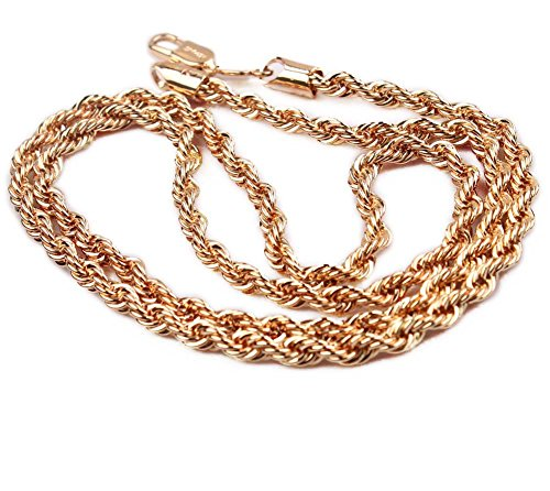 loyoe jewelry 24K Rose Gold Plated Womens Mens Twisted Chain Necklace Rope Knot Link Chain,24