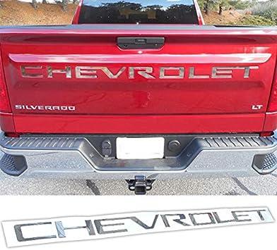 Black idingxin 3D Raised Tailgate Inserts Letters fit for Chevrolet Silverado 2019