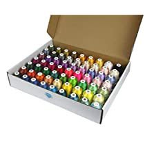 Simthread 63 Brother Colors Polyester 120d/2 40WT Embroidery Machine Thread for Brother Machine - 1,100 Yrds Each