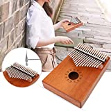 17 Key Thumb Piano Kalimba Mbira Sanza Finger Thumb Piano Pocket Size KOA/Mahogany Wood Body Keyboard Piano with Tuning Hammer+Stickers+Cloth Bag African Instrument for Kids Adult Gift (Mahogany Wood)