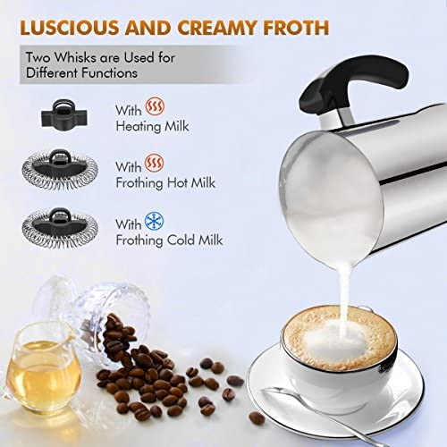 Milk Frother, Electric Milk Steamer with Hot or Cold Functionality, Automatic Milk Frother and Warmer, Silver Stainless Steel, Foam Maker for Coffee, Cappuccino and Macchiato Silver