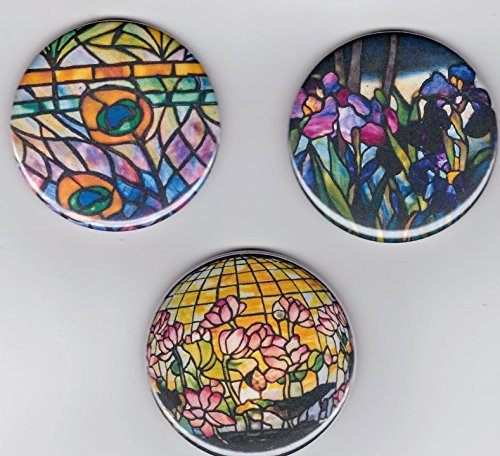"""Tiffany Stained Glass Arts & Crafts Large 2 1/4"""" Decorator Fridge Magnets 2.25"""" set of 3 Multi Color Floral Refrigerator Magnets Dragonfly Fruits from Artist Pines Hand Crafts & Home Decor"""
