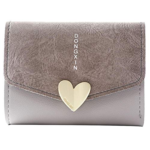 Fiber Heart Snap Carbon (Wallets for Women,iOPQO Fashion Short Wallet Heart Shaped Student Card Package)