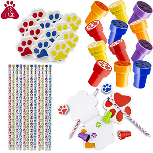 FavonirTM Paw Print Stationery Party Souvenirs Favors 48 Gift Pack - 12 Erasers - 12 Themed Booklets - 12 Pencils - 12 Stickers - Kids Birthday Party Supplies Bulk Set - Ideal As Party Favor Novelty Goody Bag Stuffer, Reward Prizes, carnival And Events]()