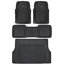 Motor Trend 4pc Black Car Floor Mats Set Rubber Tortoise Liners w/Cargo Auto SUV Trucks - All Weather Heavy Duty Floor Protection
