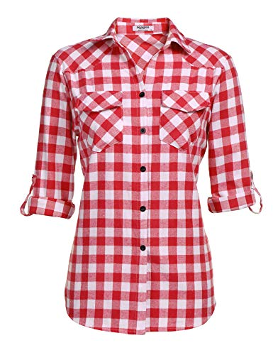 Women's Plaid Flannel Shirt, Roll Up Long Sleeve Checkered Cotton Shirt ()