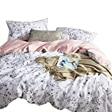 Wake In Cloud - Botanical Duvet Cover Set, Cotton Sateen Bedding, Floral Flowers and Leaves Pattern Printed in Black White and Gray Grey, Pink on Reverse (3pcs, King Size)