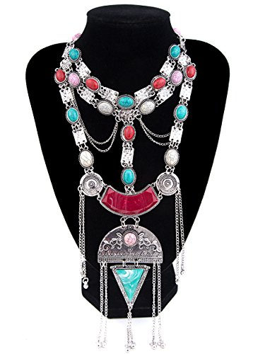 East Indian Halloween Costumes (Lianjie Antique Gold Silver Long Statement Necklace for Women Turquoise Bohemia Chunky Jewelry)